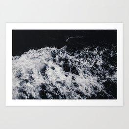 OCEAN - WAVES - SEA - ROCKS - DARK - WATER Art Print