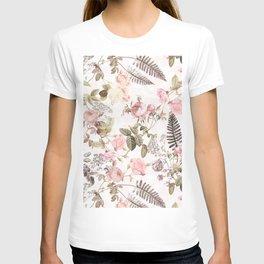 Vintage & Shabby Chic - Blush Roses and Fern Leaf T-shirt
