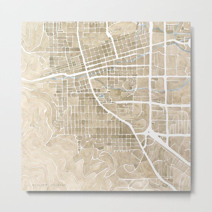 Boulder Colorado Watercolor Map Metal Print
