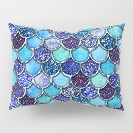 Colorful Teal & Blue Watercolor & Glitter Mermaid Scales Pillow Sham