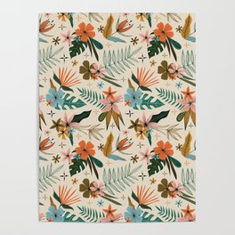 tropical floral pattern Poster