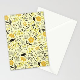 Yellow, Green & Black Floral/Botanical Pattern Stationery Cards