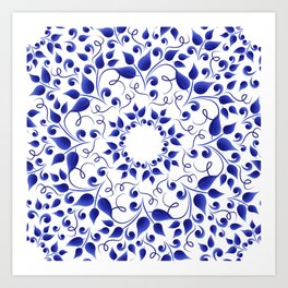 Pattern of blue leaves Art Print