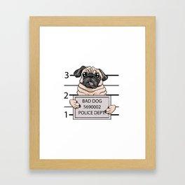 mugshot dog cartoon. Framed Art Print