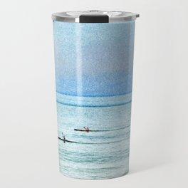 Seascape with kayaks watercolor Travel Mug