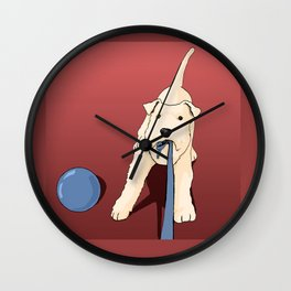 Terrier playing Wall Clock