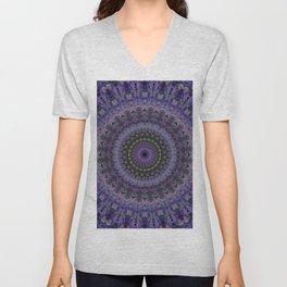 Floral mandala in violet and purple tones Unisex V-Neck