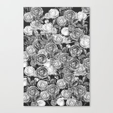 Vintage Roses Black And White Canvas Print