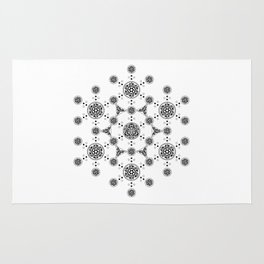 molecule. alien crop circle. flower of life and celtic patterns Rug