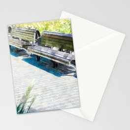 Urban Collection - Benches in the City. Vintage Watercolor Painting Style. Stationery Cards