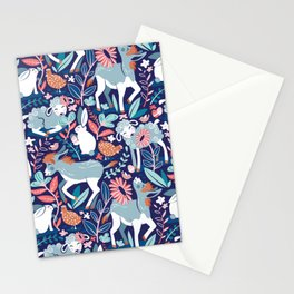 Spring Joy // navy blue background pale blue lambs and donkeys coral and teal garden Stationery Cards