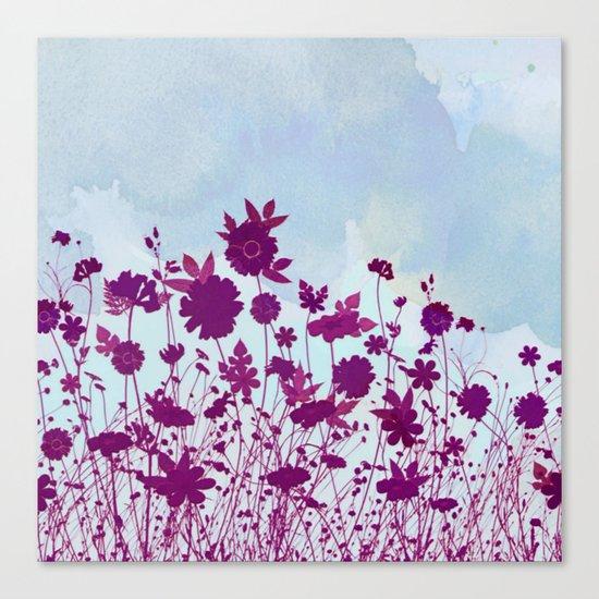 wild little flowers against watercolor sky Canvas Print