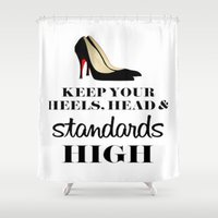 heels Shower Curtains featuring Heels & Standards by LuxuryLivingNYC