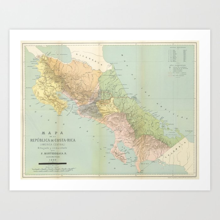 photograph regarding Printable Map of Costa Rica titled Common Map of Costa Rica (1889) Artwork Print as a result of bravuramedia