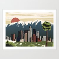 los angeles Art Prints featuring Los Angeles by Sam Brewster