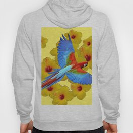 TROPICAL BLUE MACAW YELLOW HIBISCUS ART Hoody