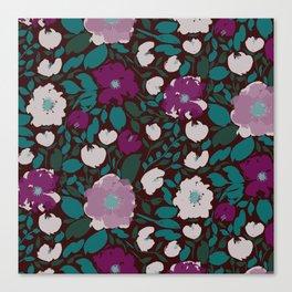 Dark Moody Garden Floral Pattern Canvas Print