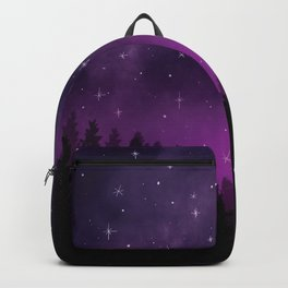 Stars in Space Over Forest (purple) Backpack