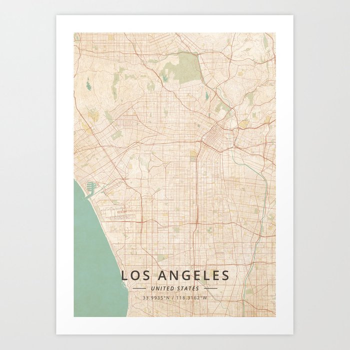 Los Angeles United States Vintage Map Art Print By Designermapart