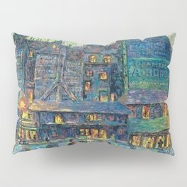 Busy Paris Street at Night by Maximilian Luce Pillow Sham