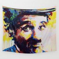 charlie Wall Tapestries featuring Charlie Chaplin by Marta Zawadzka