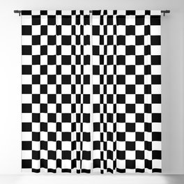 Black and White Checkerboard Pattern Blackout Curtain