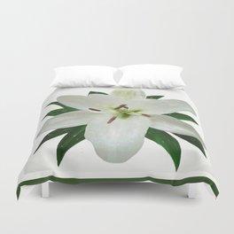 White Lily in the Rain Duvet Cover