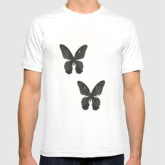 Black Butterfly MEDIUM White Mens Fitted Tee