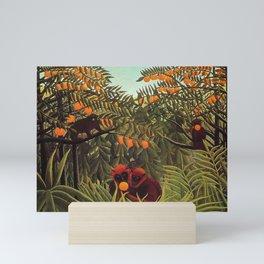 Apes in the Orange Grove by Henri Rousseau 1910 // Colorful Jungle Animal Landscape Scene Mini Art Print