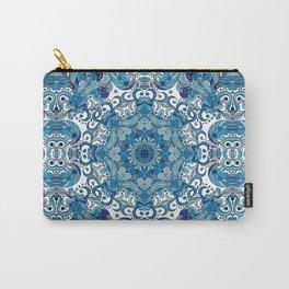 Blue Boho Mandela Pattern Carry-All Pouch