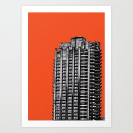 Barbican London (orange) Art Print