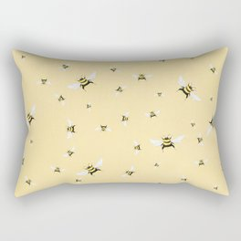 Whimsical Bee Illustration // Bees on Yellow Background Rectangular Pillow
