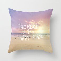 the beach is my happy place Throw Pillow