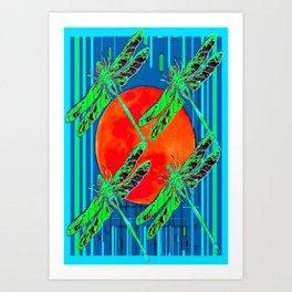 Four Green Dragonflies Red Sun Blue Art Abstract Art Print
