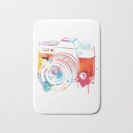 Camera Watercolor Bath Mat