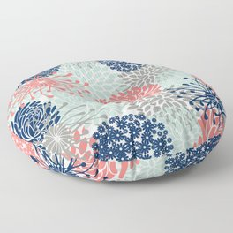 Floral Print - Coral Pink, Pale Aqua Blue, Gray, Navy Floor Pillow