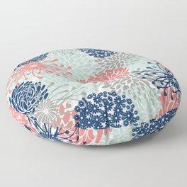 Floral Print - Coral Pink, Pale Aqua Blue, Gray, Navy Floor Pillow