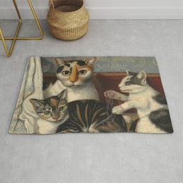 American 19th Century Cat and Kittens Oil Painting 1872 Rug