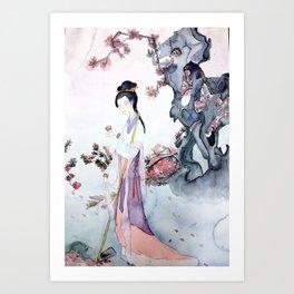 The Girl Who Buries Flowers Art Print
