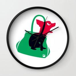 Angry animals: chihuahua - little green bag Wall Clock