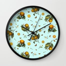Oranges and Butterflies on Mint Wall Clock