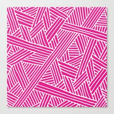 Abstract pink & white Lines and Triangles Pattern-Mix and Match with Simplicity of Life Canvas Print