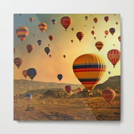 Hot Air Balloons at Sunrise in Cappadocia Metal Print