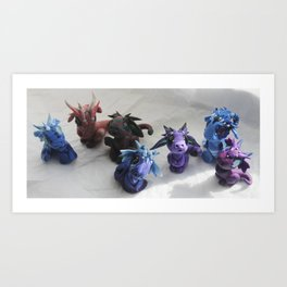 Bitty Bitey Dragons Art Print