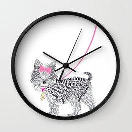 Typographic Yorkshire Terrier - Pink   #YorkshireTerrier #buyart Wall Clock