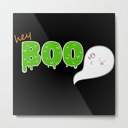 Hey Boo Green Metal Print
