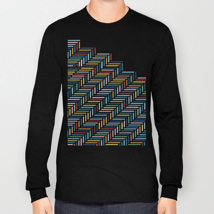 Herringbone Color Part Long Sleeve T-shirt