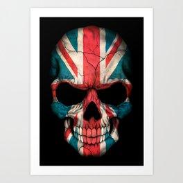 British Flag Skull on Black Art Print