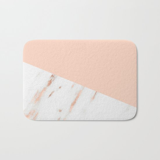 Pink Quartz and White Marble Rose Gold Bath Mat