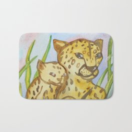 Cheetahs - Mother and a Cub Bath Mat
